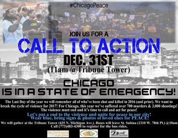 New Years Eve Call For Peace - March and Rally on Dec. 31st at the Tribune Tower