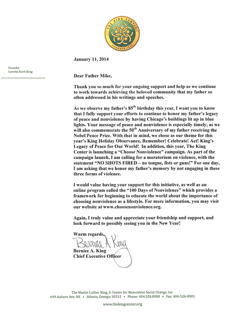 Letter from Bernice King In Support of Blue Lights to Honor Dr. King