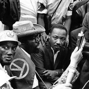 Martin Luther King Jr. in Marquette Park on August 5, 1966, where he was struck by a stone