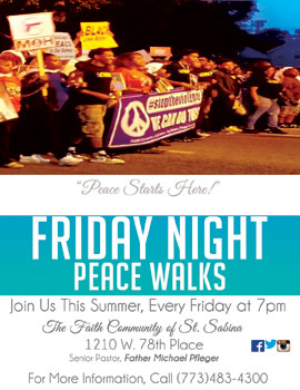 2017 Friday Night Peace Walks flyer
