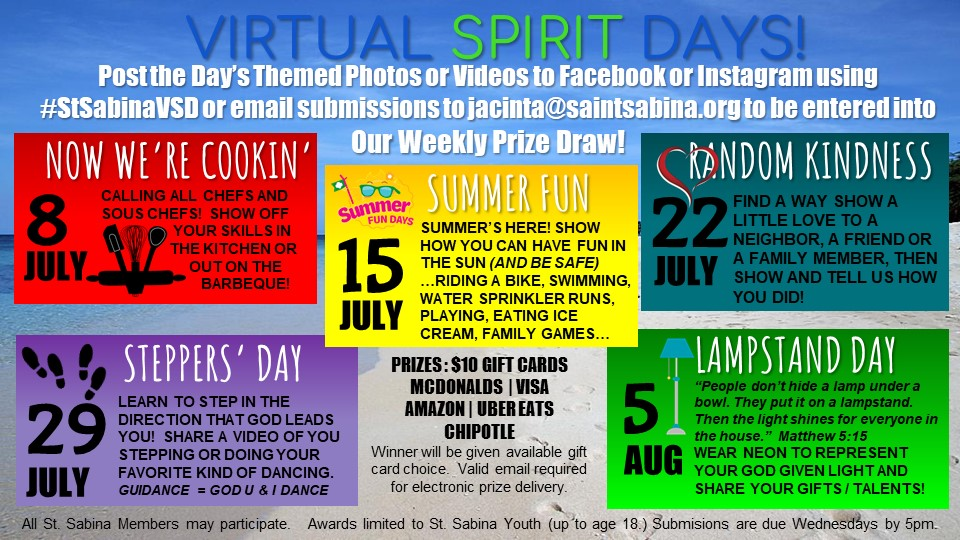 St Sabina Youth Ministry Virtual Spirit Days Set 2