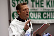 Small Portrait of Rev Pfleger at Anti Violence Press Conference at St. SabinaChurch 225px by 150px