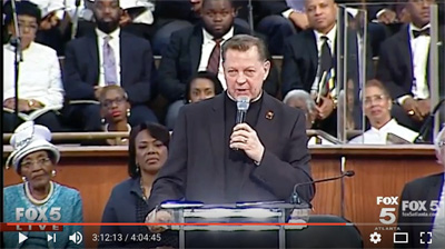 Father Michael Pfleger at the King Center's 49th Annual Commemorative Service for Martin Luther King, Jr., Ebenezer Baptist Church, Atlanta, Georgia