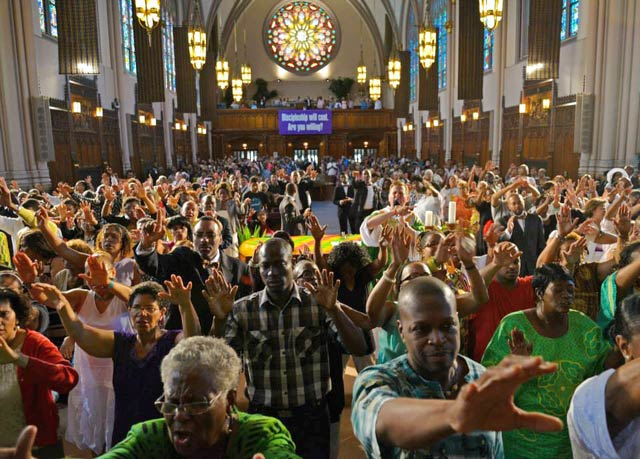 worshipers pray for peace facing east