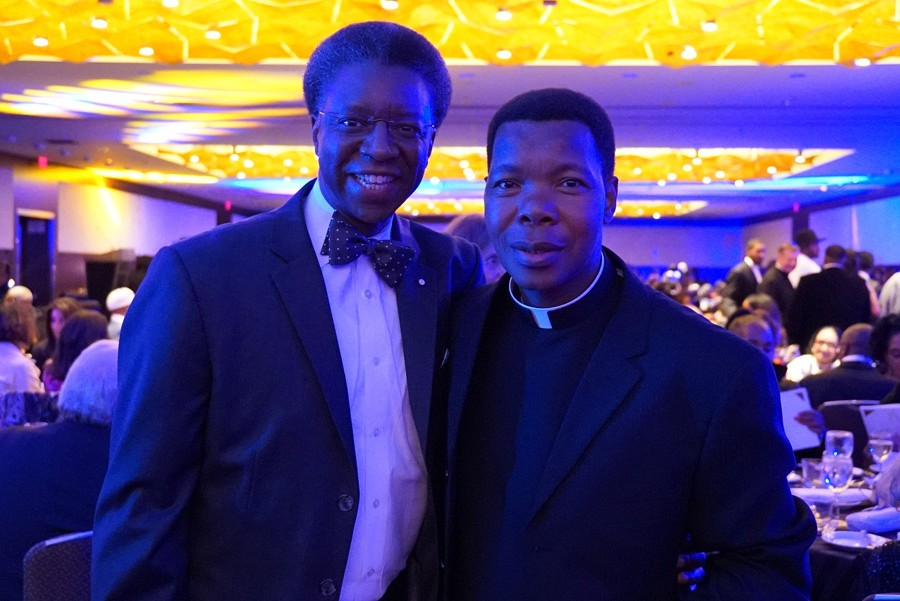 100th Anniversary Gala | Randall Blakey with Father Thulani Magwaza, Pastor at Saint Sabina | photo by Mack Julion