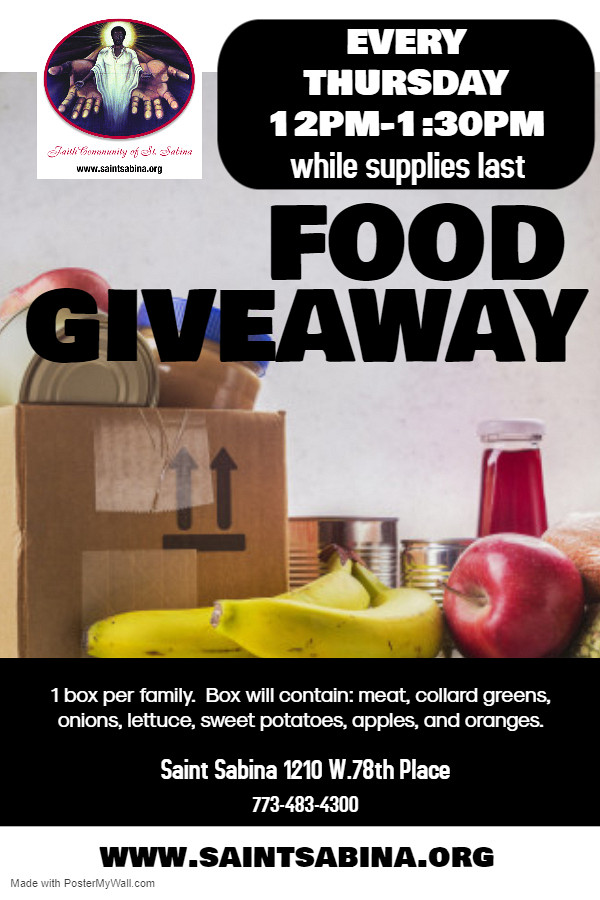 Weekly Food Giveaway - Thursdays, 12pm to 1:30pm